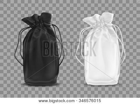 Blank Drawstring Polyester Tote Bag. Vector Realistic Illustration