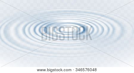 Blue Circle Water Ripple Isolated On Transparent Background. Realistic Vector Illustration