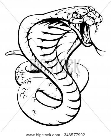 An Illustration Of A King Cobra Snake In Black And White