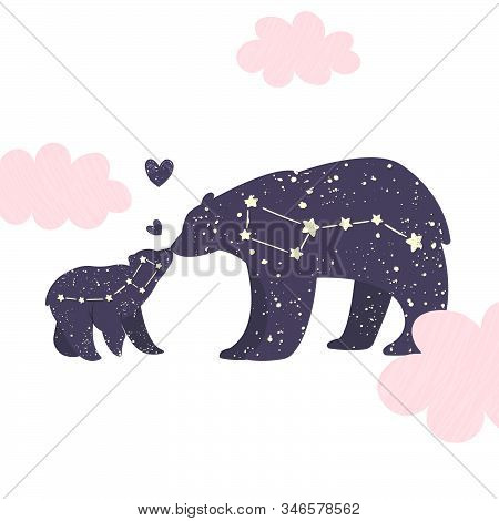 Ursa Major And Ursa Minor. Big Bear And Little Bear Constellation In The Night Starry Sky. Vector Il