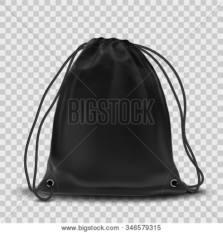Vector Black Backpack Mockup Isolated On Transparent Background.