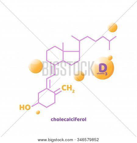 Vitamin D, D3 Vector. 2 November - Vitamin D Day. Vector Illustration With Chemical Formula. Liquid