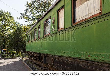 Gori, Georgia, October 13, 2019 : The Personal Armored Train Car Of Stalin Stands In The Courtyard O