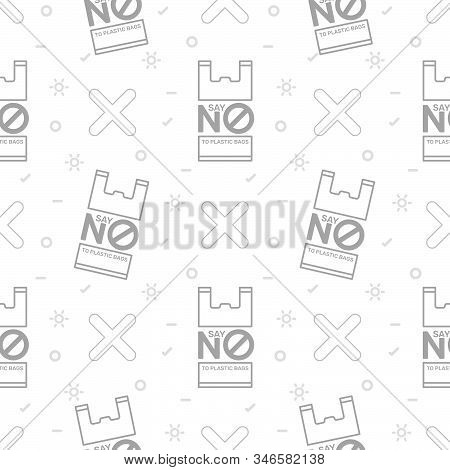 Zero Waste And Say No To Plastic Bags Seamless Pattern On