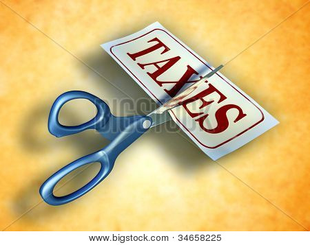 Some scissors are cutting a piece of paper with the word taxes. Digital illustration. Included clipping path allows to isolate objects from background.