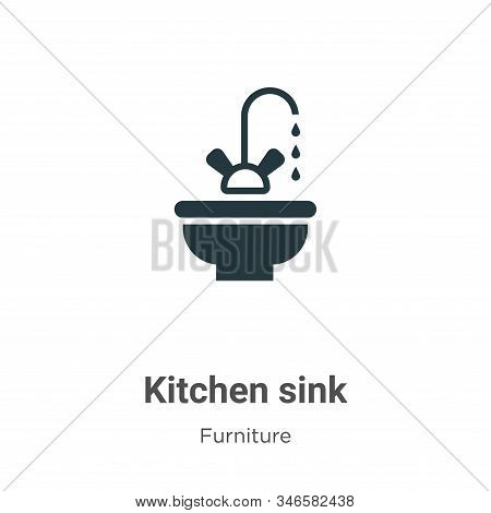 Kitchen sink icon isolated on white background from furniture collection. Kitchen sink icon trendy a