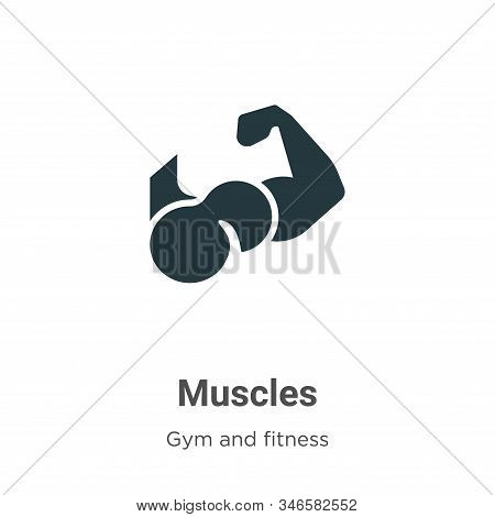 Muscles Glyph Icon Vector On White Background. Flat Vector Muscles Icon Symbol Sign From Modern Gym