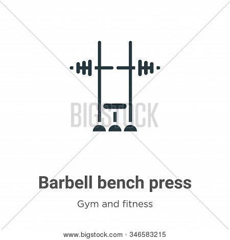 Barbell bench press icon isolated on white background from gym and fitness collection. Barbell bench