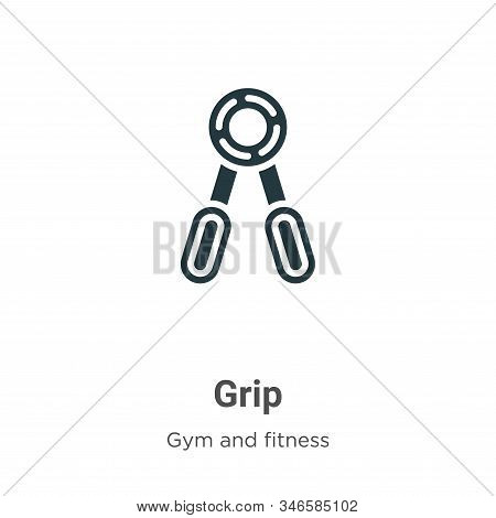 Grip Glyph Icon Vector On White Background. Flat Vector Grip Icon Symbol Sign From Modern Gym And Fi
