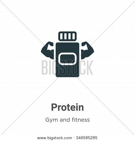 Protein Glyph Icon Vector On White Background. Flat Vector Protein Icon Symbol Sign From Modern Gym