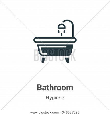 Bathroom Glyph Icon Vector On White Background. Flat Vector Bathroom Icon Symbol Sign From Modern Hy