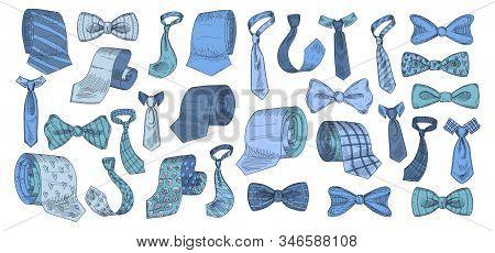 Stylish Monochrome Neckwear Items Hand Drawn Icon Illustrations Set Blue Color