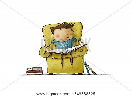 Little Boy In The Age Of Learning To Read. Funny Illustration Of A Boy Sitting In An Armchair With A