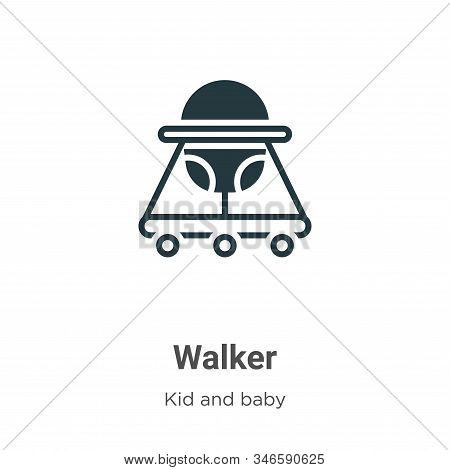 Walker icon isolated on white background from kid and baby collection. Walker icon trendy and modern