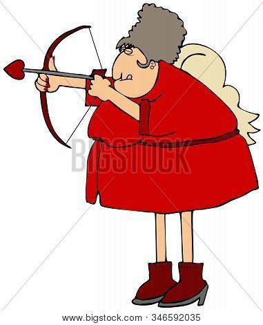 Illustration Of Mrs. Cupid Dressed In Red And Shooting A Love Arrow With A Bow.
