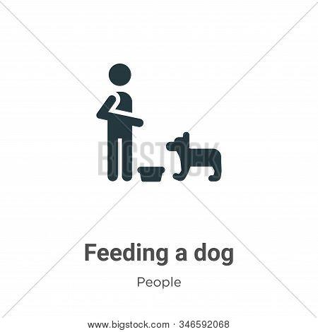 Feeding A Dog Glyph Icon Vector On White Background. Flat Vector Feeding A Dog Icon Symbol Sign From