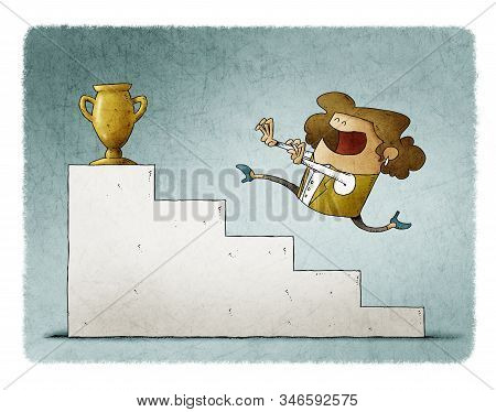Businesswoman Runs Up Some Stairs To Reach A Golden Trophy.