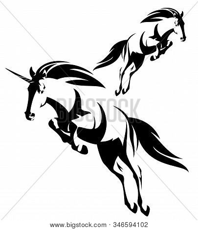 Jumping Forward Mythical Unicron And Wild Mustang Horse Black And White Vector Outline Set