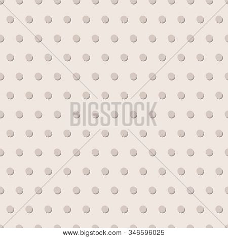 3d Polka Dots Seamless Vector Pattern. Embossed Circles Repeating Background. Pinkish Grey. Use For