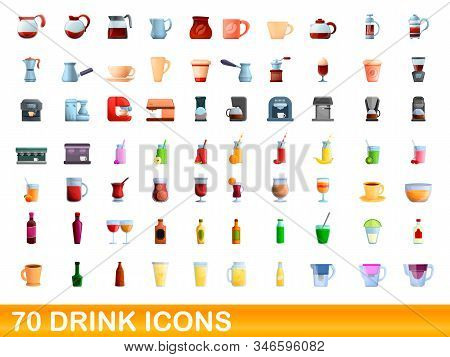 70 Drink Icons Set. Cartoon Illustration Of 70 Drink Icons Vector Set Isolated On White Background