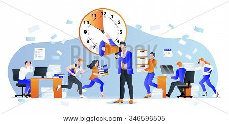 Project Deadline And Overtime Working Business Concept. Vector Flat Cartoon Characters Illustration.