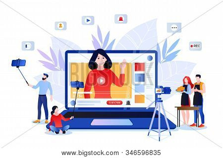 Vlog And Trendy Video Content Creation For Social Networks. Vector Flat Cartoon Illustration Of Life