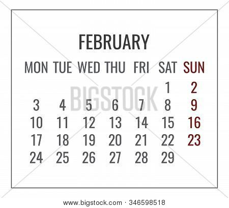 February Year 2020 Vector Monthly Plain Minimalistic White Calendar. Week Starting From Monday.