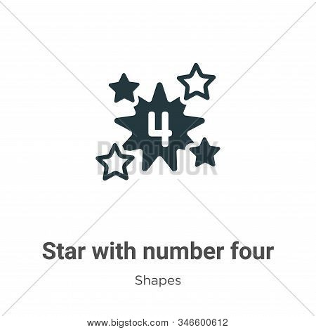 Star with number four icon isolated on white background from shapes collection. Star with number fou