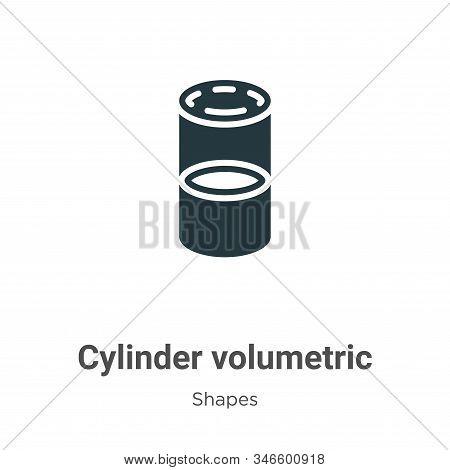 Cylinder Volumetric Glyph Icon Vector On White Background. Flat Vector Cylinder Volumetric Icon Symb