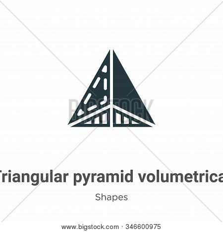 Triangular Pyramid Volumetrical Shape Glyph Icon Vector On White Background. Flat Vector Triangular