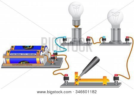 An Electric Circuit Consisting Of Series-connected Light Bulbs, An Electric Current Source, Conducto