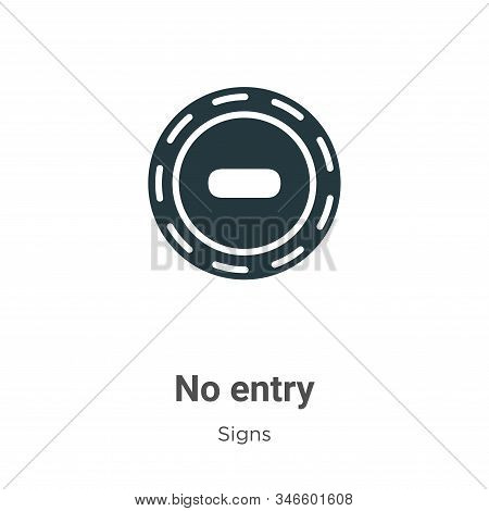 No Entry Glyph Icon Vector On White Background. Flat Vector No Entry Icon Symbol Sign From Modern Si