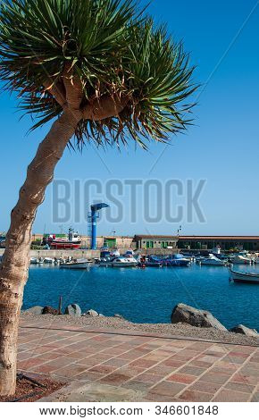 Candelaria, Tenerife, Spain - 27 December 2019,  Small Port In The Village Candelaria In Tenerife, C