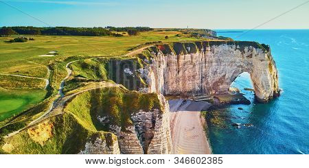 Picturesque Panoramic Landscape Of White Chalk Cliffs And Natural Arches Of Etretat, Seine-maritime