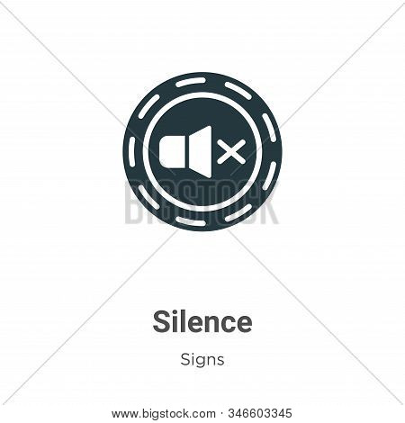 Silence Glyph Icon Vector On White Background. Flat Vector Silence Icon Symbol Sign From Modern Sign