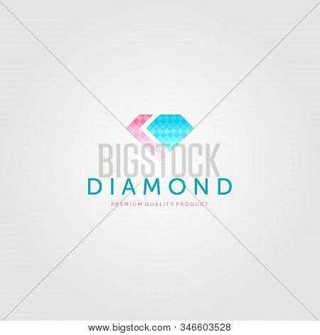 Diamond Logo Luxury Jewelry Vector Icon Illustration Design