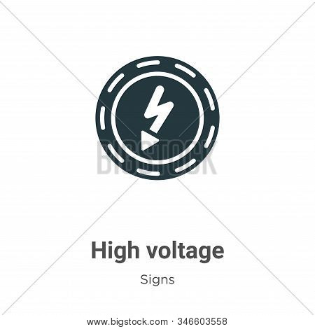 High voltage icon isolated on white background from signs collection. High voltage icon trendy and m