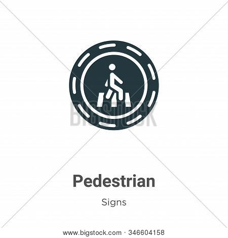 Pedestrian Glyph Icon Vector On White Background. Flat Vector Pedestrian Icon Symbol Sign From Moder