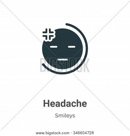 Headache icon isolated on white background from smileys collection. Headache icon trendy and modern