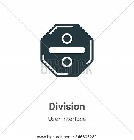 Division Glyph Icon Vector On White Background. Flat Vector Division Icon Symbol Sign From Modern Us