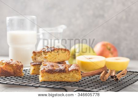 Homemade Blondie (blonde) Brownies Apple Cake Square Slices With Glass Of Milk