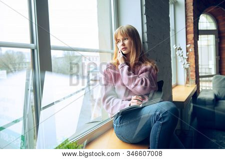 Beautiful Caucasian Business Lady Working In Office. Young Female Model In Co-working Place Makes No