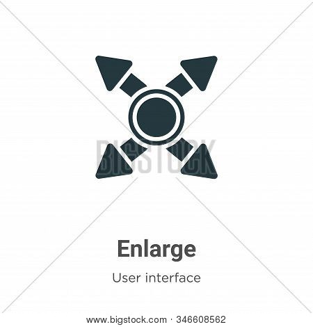 Enlarge Glyph Icon Vector On White Background. Flat Vector Enlarge Icon Symbol Sign From Modern User