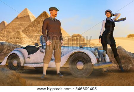 Young Couple Of Aristocratic Luxury Travelers With A Sportscar Near The Pyramids In 1940s Egypt, 3d