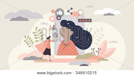 Personal Branding Influencer Marketing Concept, Flat Tiny Person Vector Illustration. Creative Perso