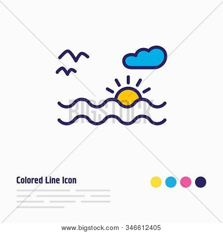 Vector Illustration Of Sunset In The Sea Icon Colored Line. Beautiful Naval Element Also Can Be Used