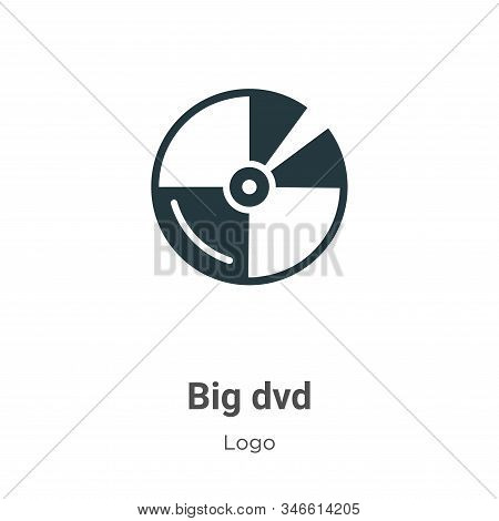 Big Dvd Glyph Icon Vector On White Background. Flat Vector Big Dvd Icon Symbol Sign From Modern Logo