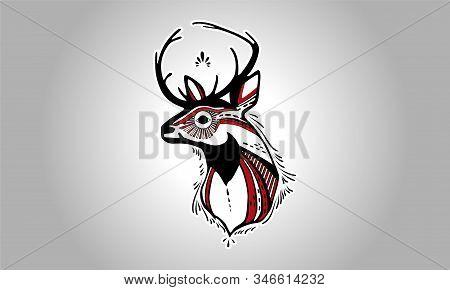 Aesthetic Deer Head Profile Sticker. Aesthetic Deer Head Profile Sticker