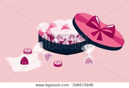 The 14th Of February. Valentines Day Concept. Sweets, Candies And Box Of Chocolates With Big Bow. Pi