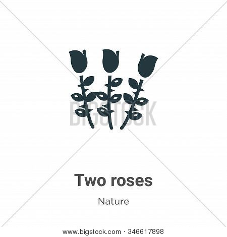 Two roses icon isolated on white background from nature collection. Two roses icon trendy and modern